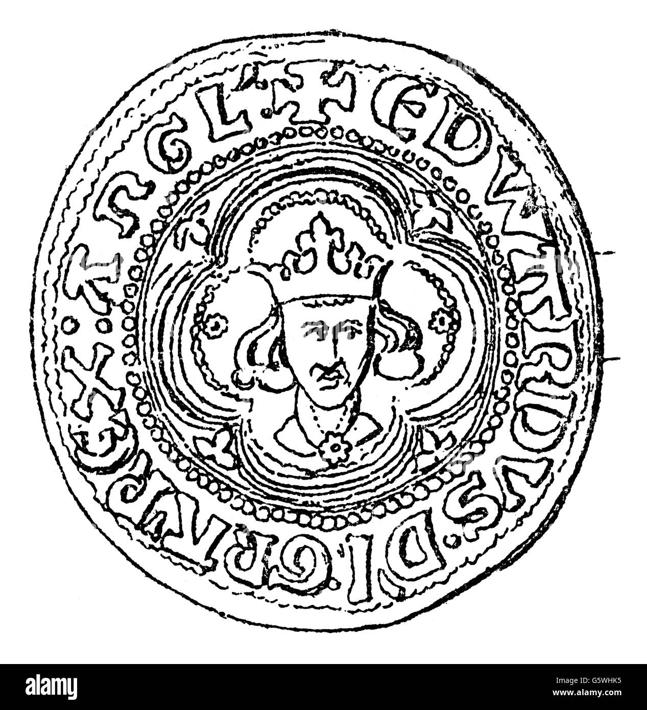 money / finances, coins, Great Britain, Groat, minted in the period of King Edward I of England (1272 - 1307), obverse, - Stock Image