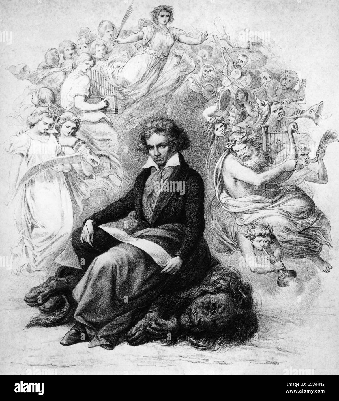 Beethoven, Ludwig van, 17.12. 1770 - 26.3.1827, German composer, full length, allegory, lithograph, lithographic - Stock Image