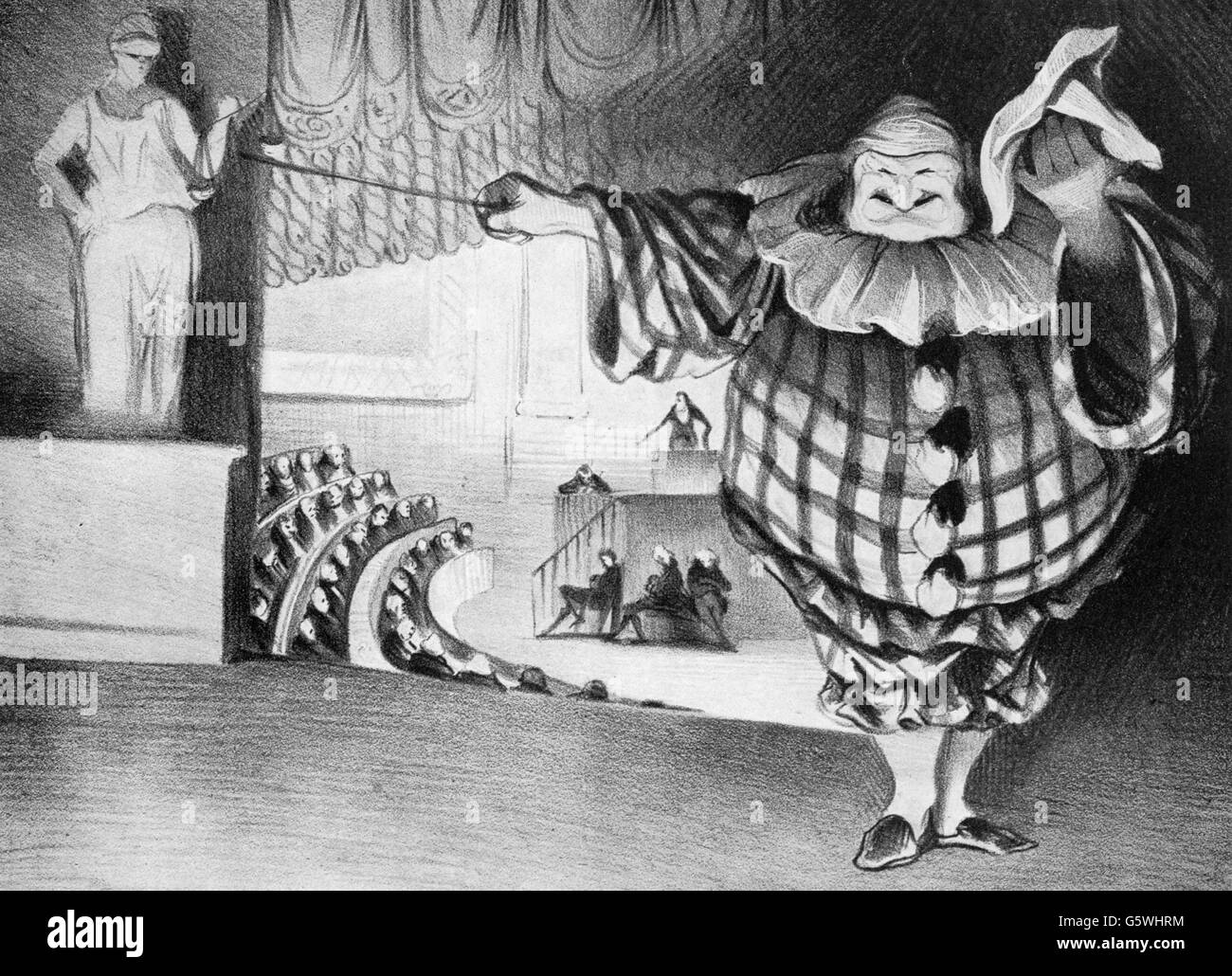 Louis Philippe I, 6.10.1773 - 26. 8.1850, king of the French 7.8.1830 - 24.2.1848, as clown lowering the curtain - Stock Image