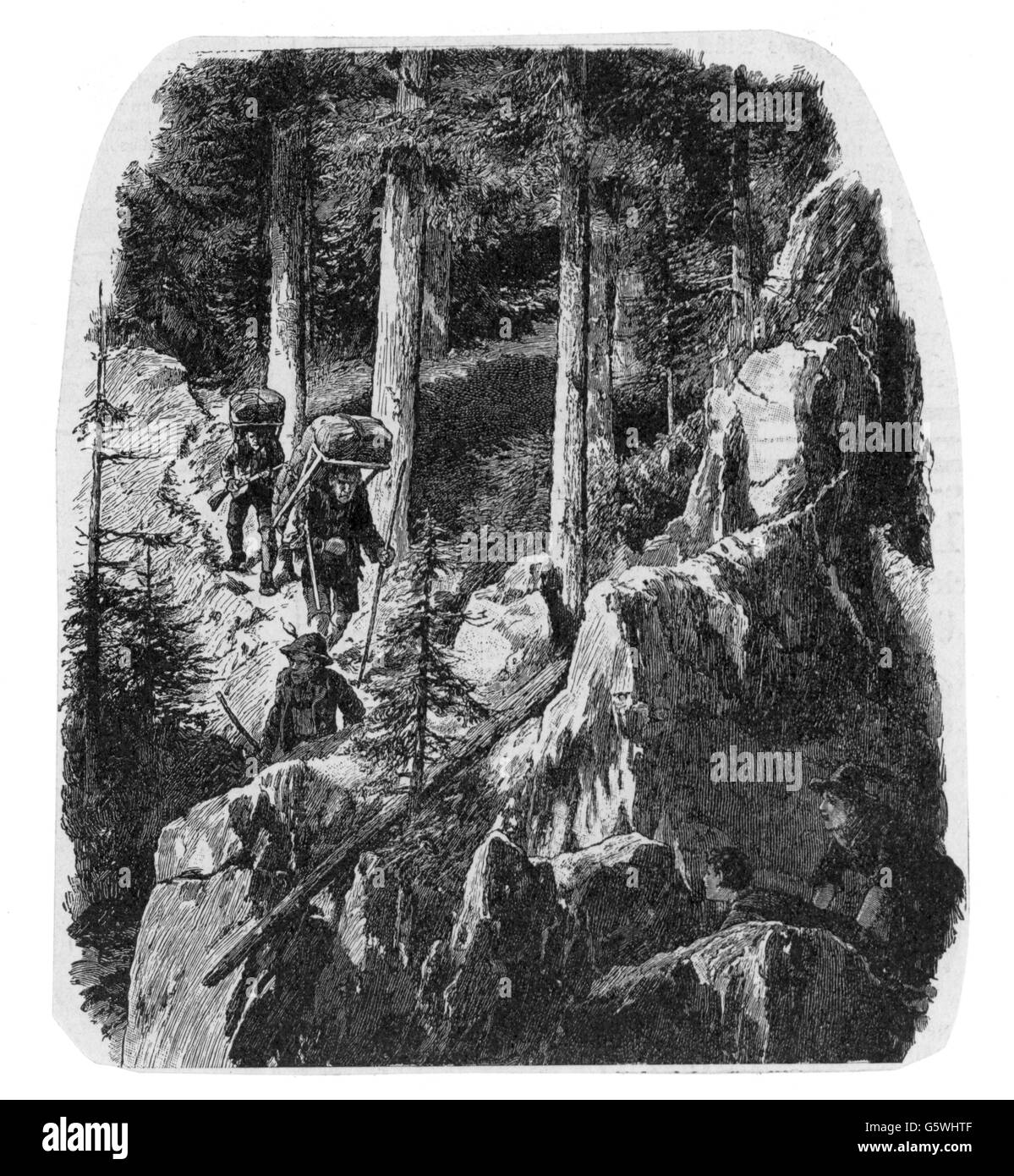 justice, serious crime, smuggling, smugglers in the mountains, wood engraving, circa 1900, Additional-Rights-Clearences - Stock Image