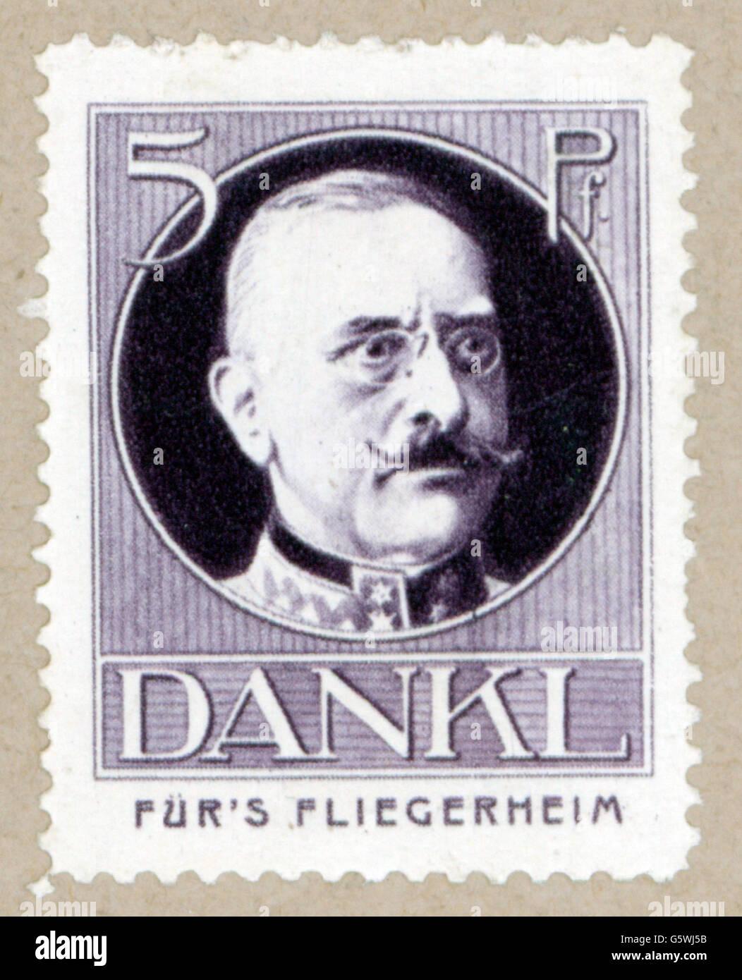 """Dankl von Krasnik, Viktor, 18.9.1854 - 8.1.1941, Austrian general, portrait, poster stamp """"Für's Fliegerheim"""", Germany, Stock Photo"""