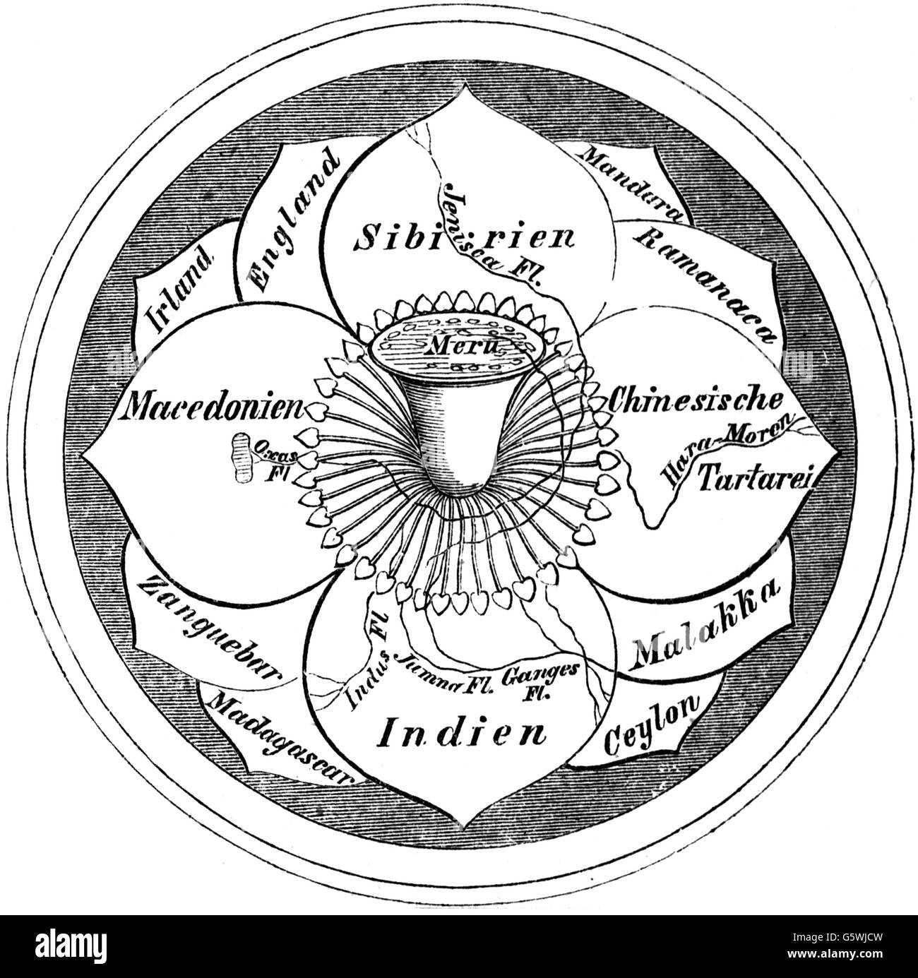 cartography, world map, Hindo world map, the world as a blossom with the mount Meru in the centre, wood engraving, - Stock Image