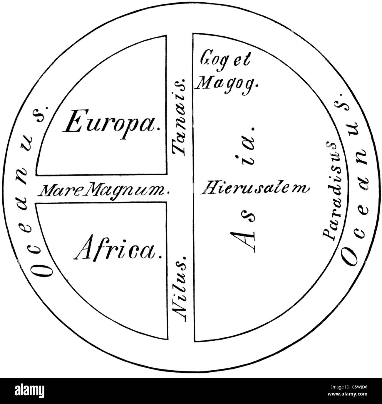cartography, world maps, T and O map, 7th / 8th century Stock Photo ...