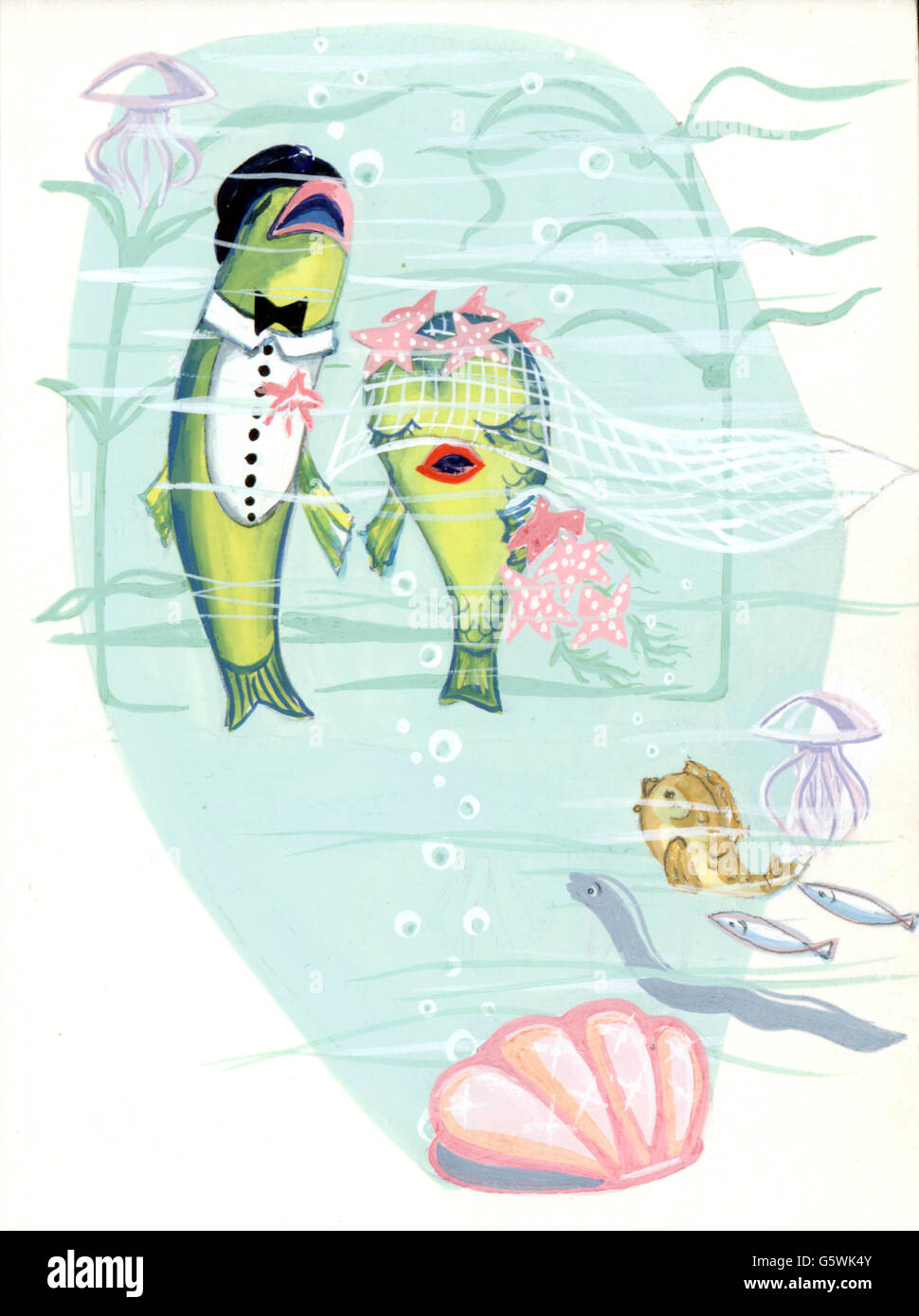 literature, illustrations, two fish marrying, draft for an unpublished storybook, unknown artist, Germany, 1950s, - Stock Image
