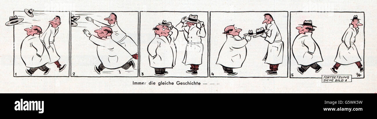 caricature, 'Always the same old story -', drawing, from: 'Funk-Illustrierte', Stuttgart, October - Stock Image