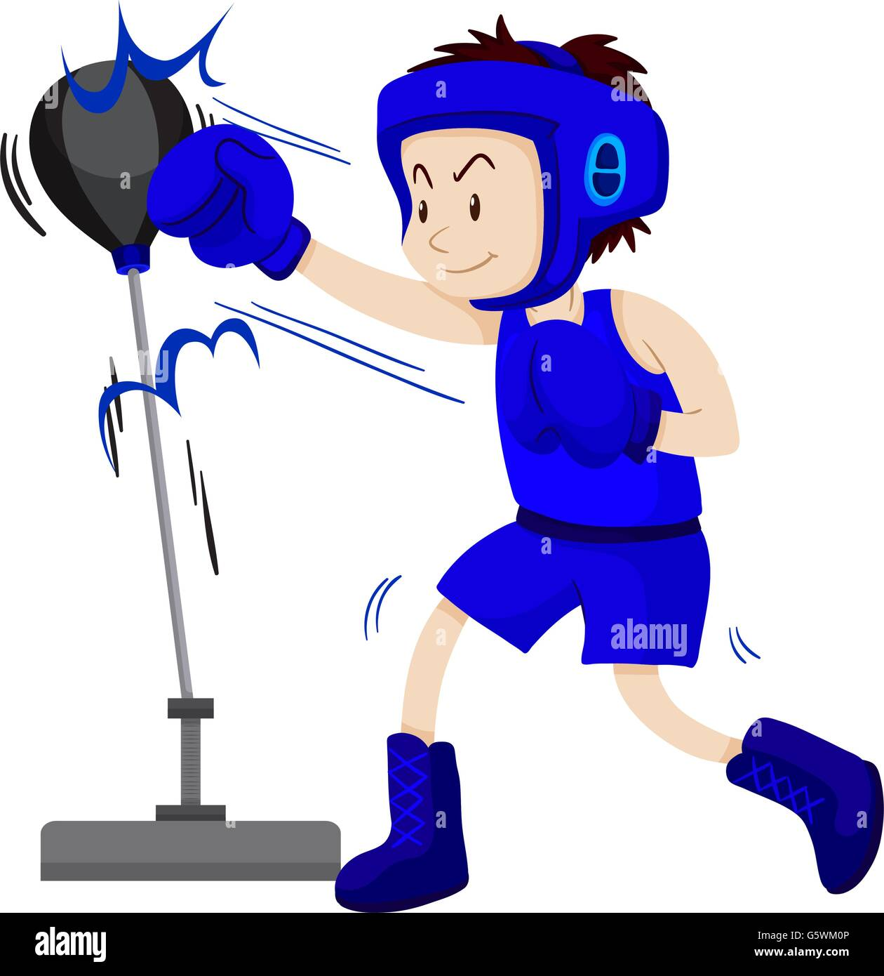 Boxer in blue outfit practice punching illustration - Stock Vector