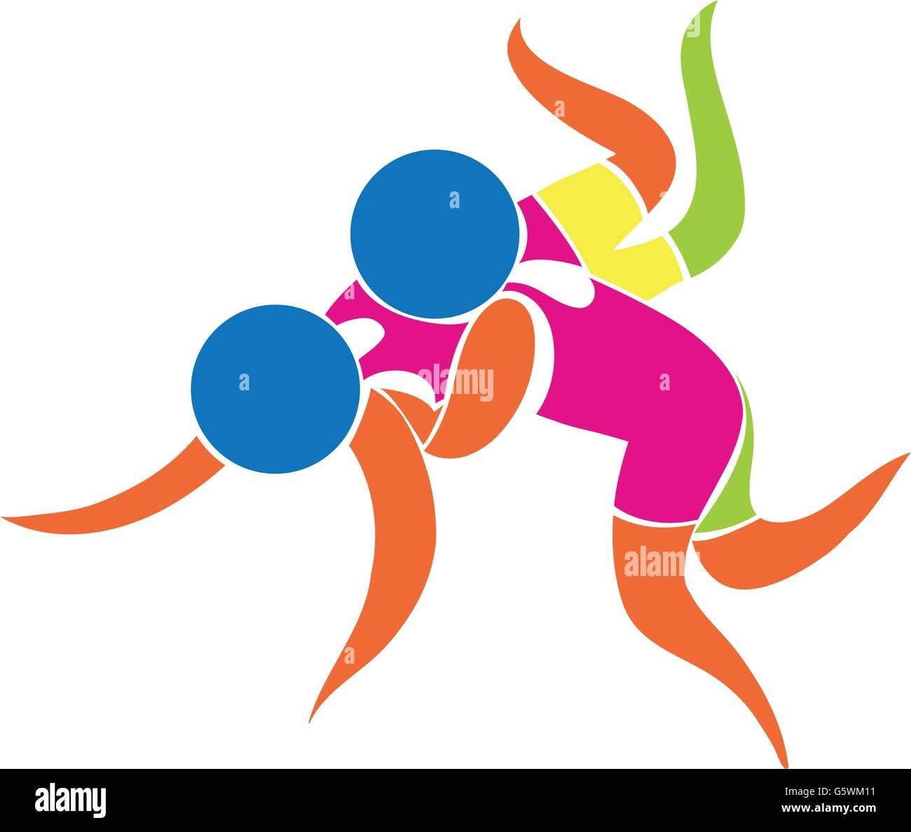 Sport icon for wrestling illustration - Stock Image