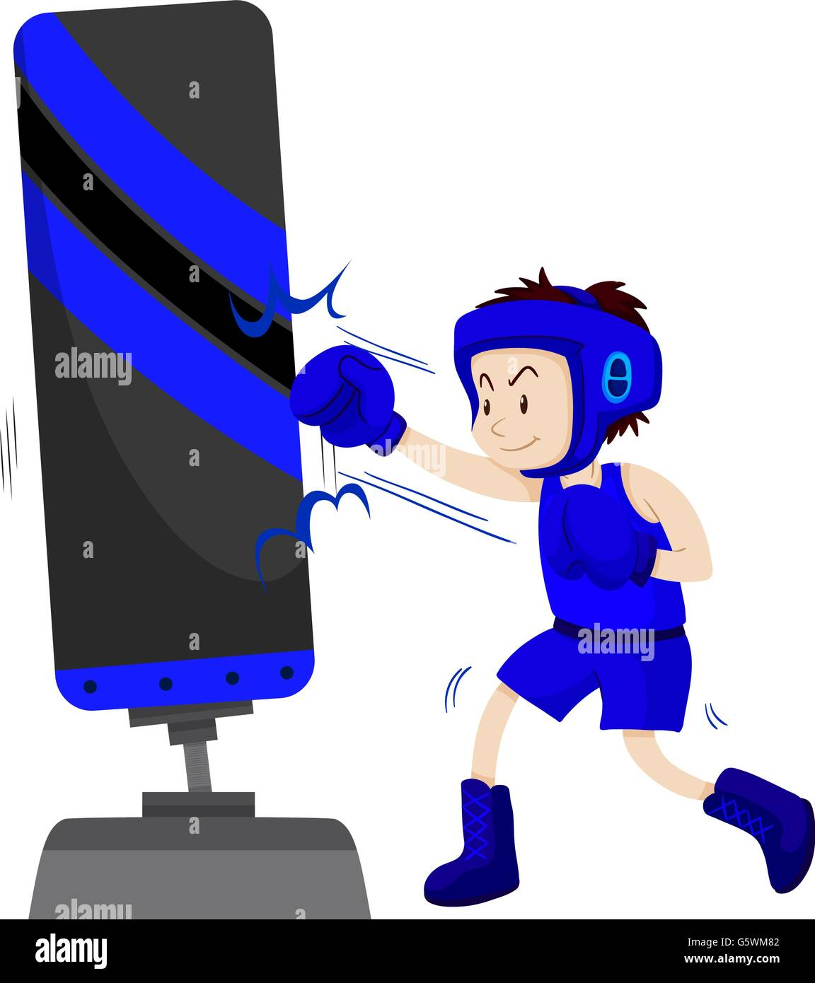 Boxer in blue outfit punching on punching stand illustration - Stock Vector