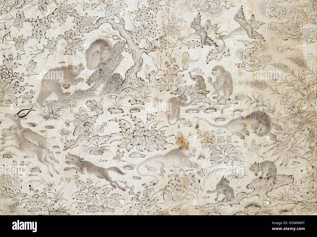 Master Muhammad Siyah Qalam - Birds and Beasts in a Flowery Landscape - - Stock Image