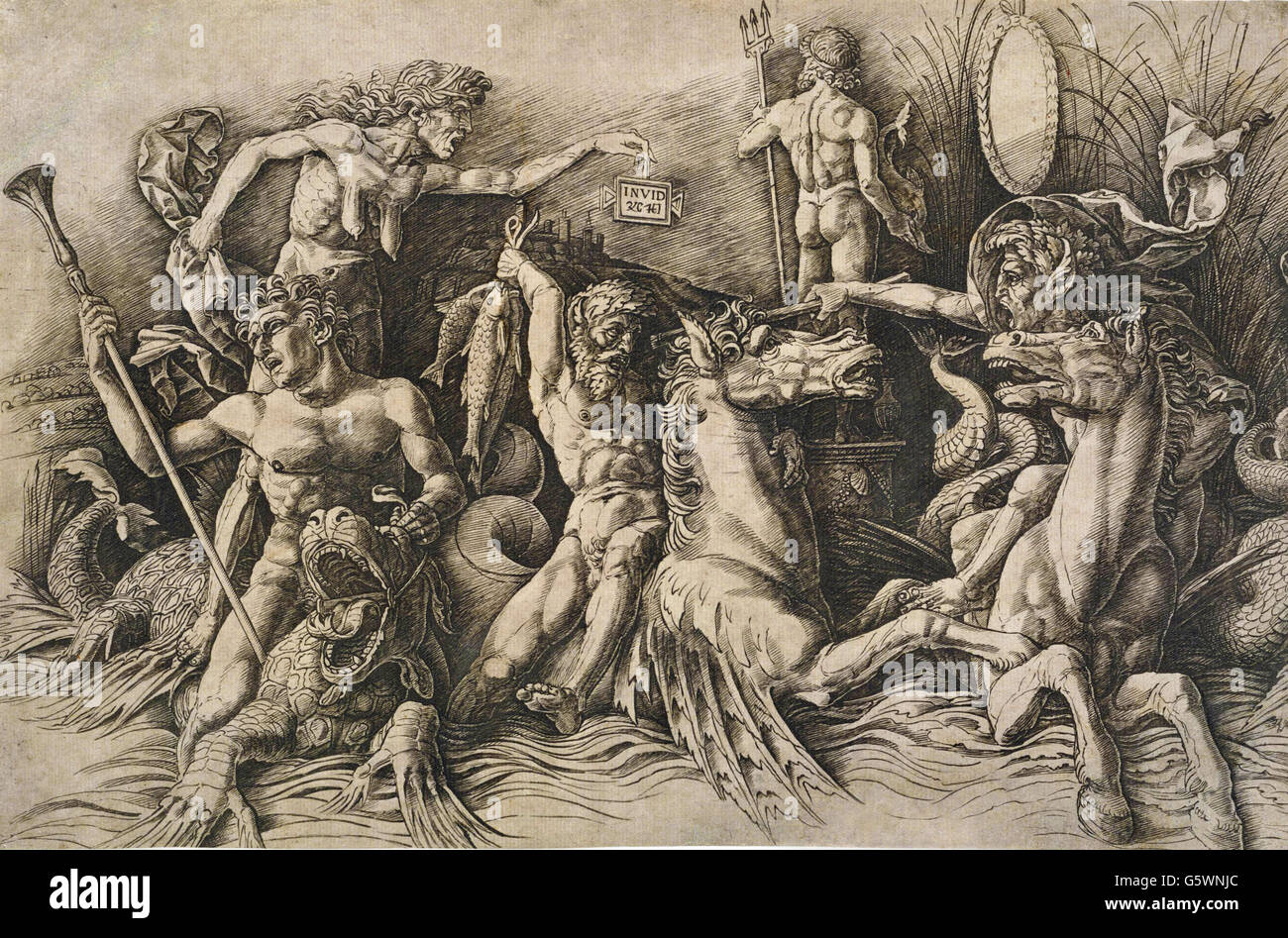 Andrea Mantegna - The Battle of the Sea Gods (the Left Half) - - Stock Image