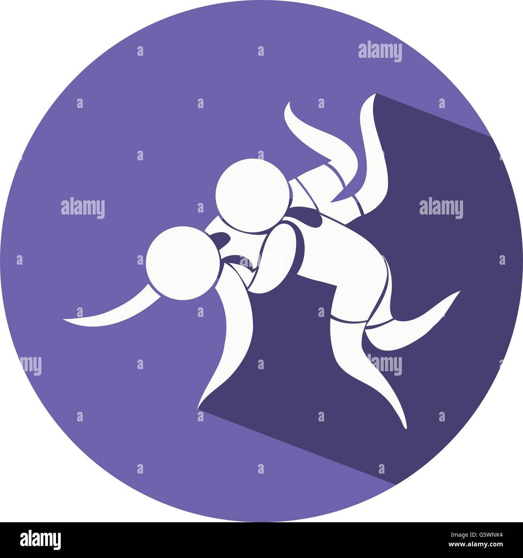 Wrestling icon on blue background illustration - Stock Image