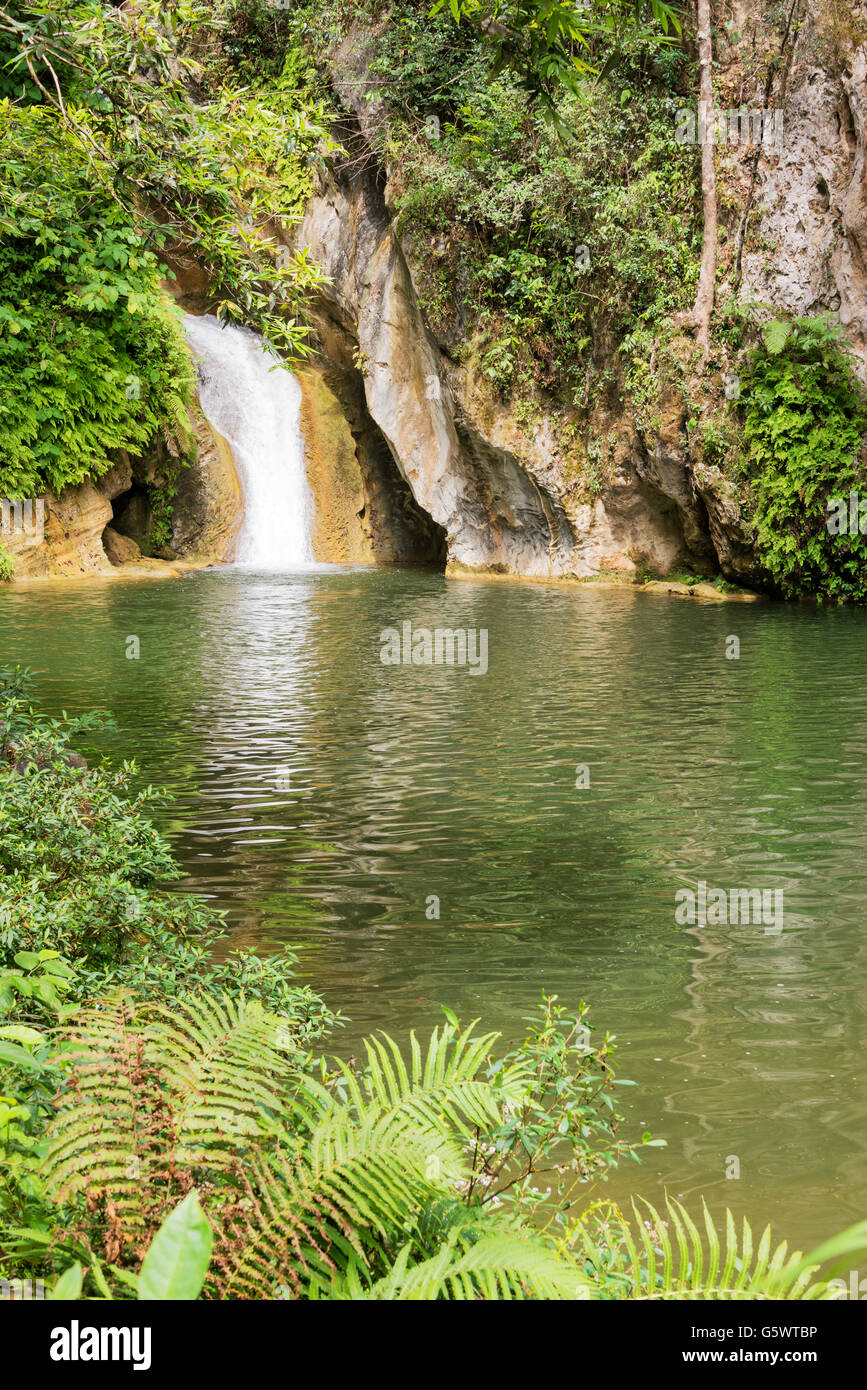 Caburni waterfall and pool near Trinidad, Cuba - Stock Image