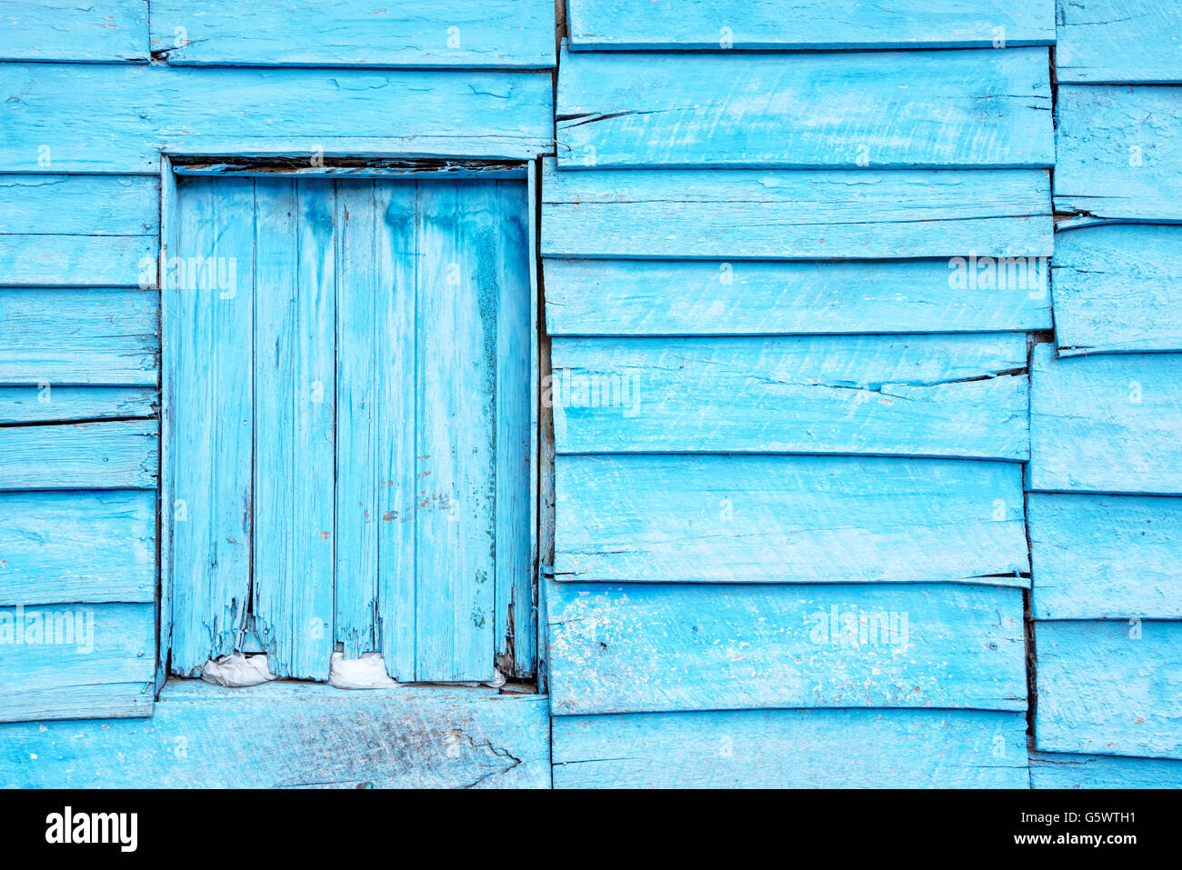 Blue planks wall background - Stock Image