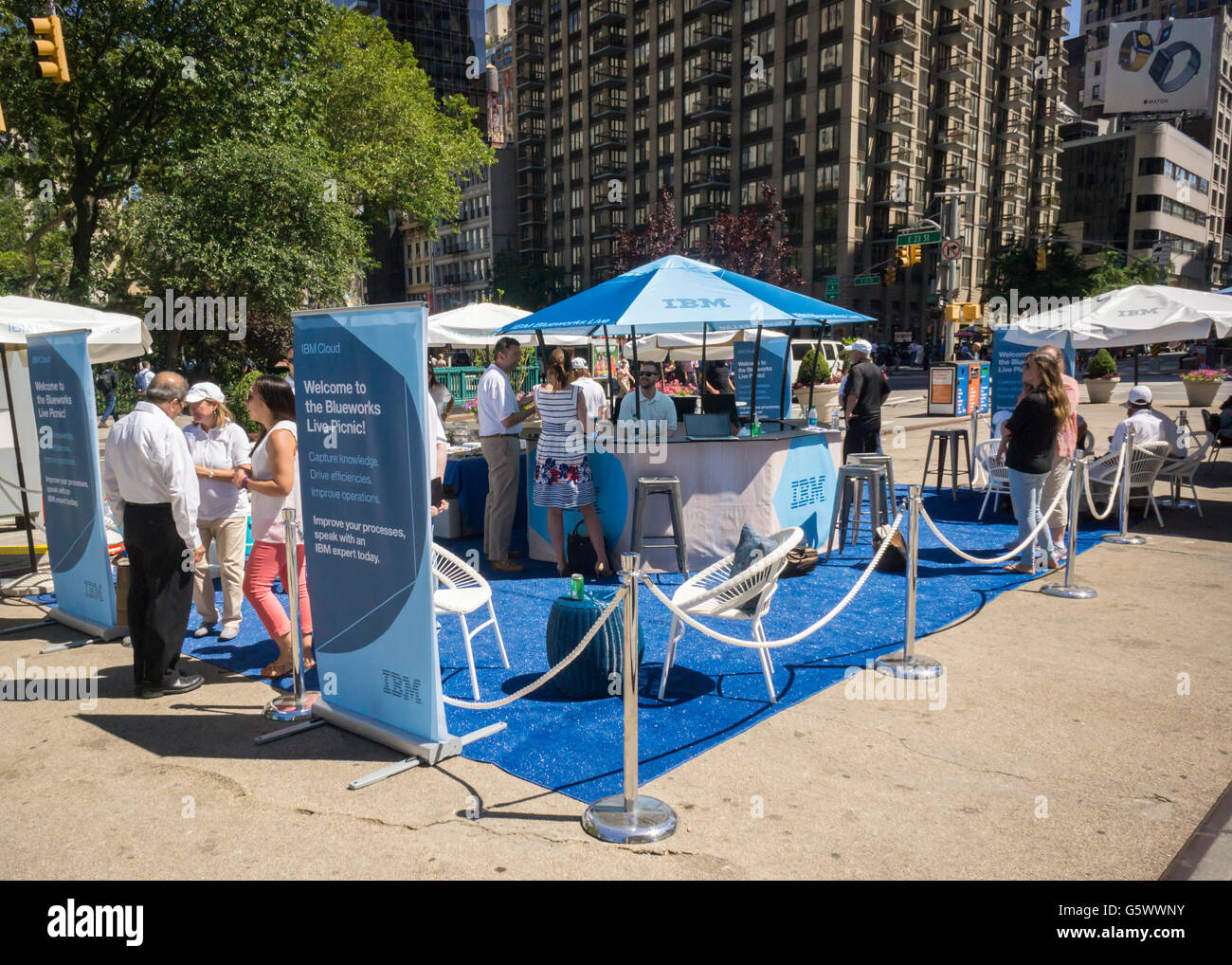 A promotional event for IBM Blueworks collaborative cloud-based business solution in Flatiron Plaza in New York - Stock Image