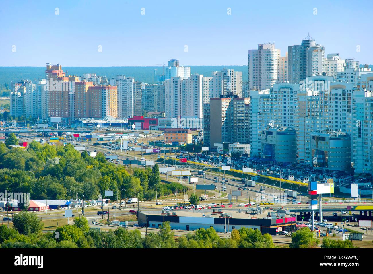 Modern density architecture of Kiev - the capital of Ukraine - Stock Image