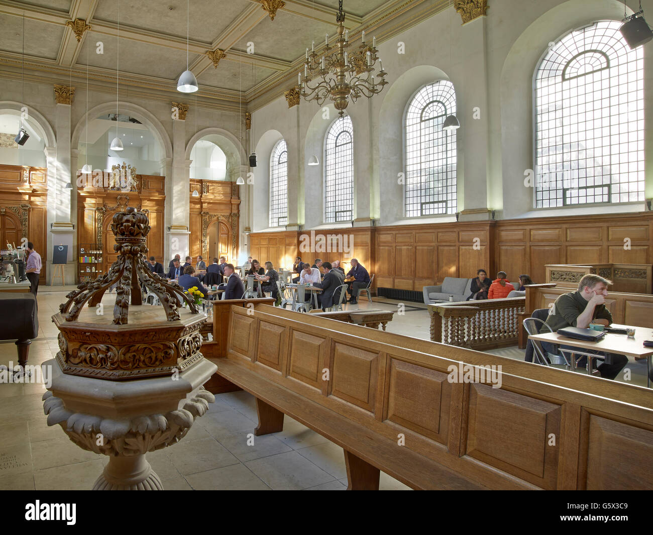 St Nicholas Cole Abbey, church in the City of London; interior converted to a cafe - Stock Image