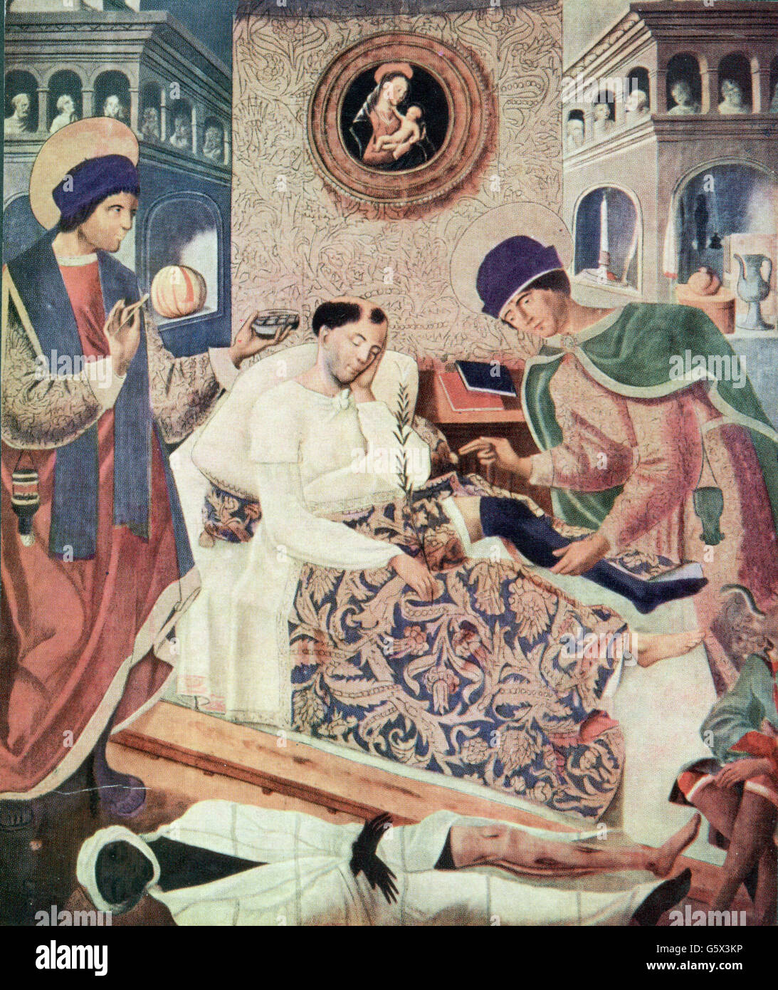 religion, Christianity, saints, Saint Cosmas and Saint Damian replacing the leg of an invalid by the leg of a Ethiopian, - Stock Image