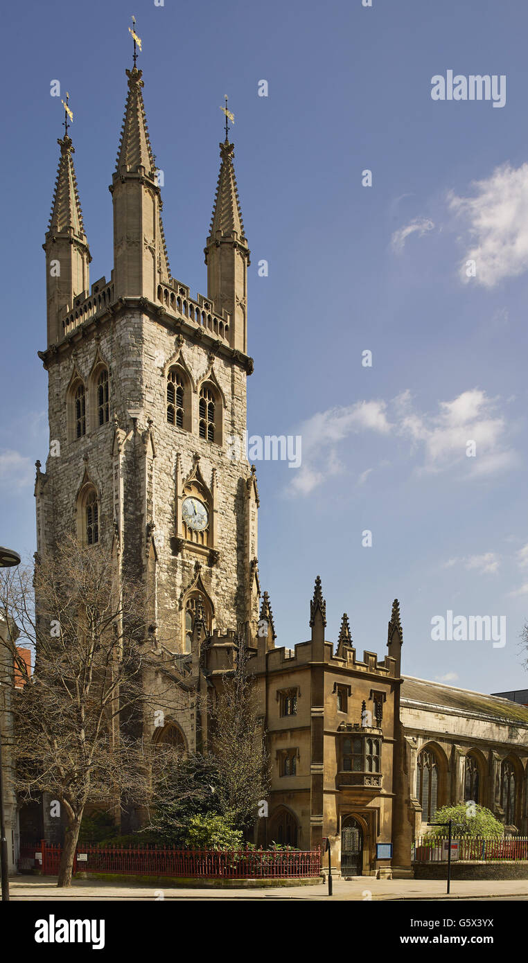 St Sepulchre, church in the City of London; exterior - Stock Image