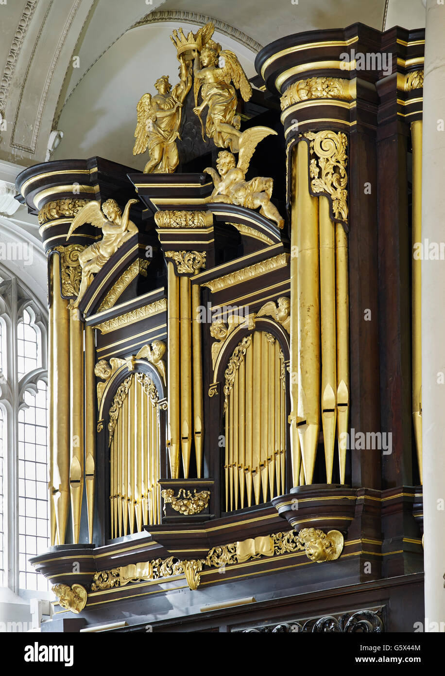 St Sepulchre, church in the City of London; the organ - Stock Image