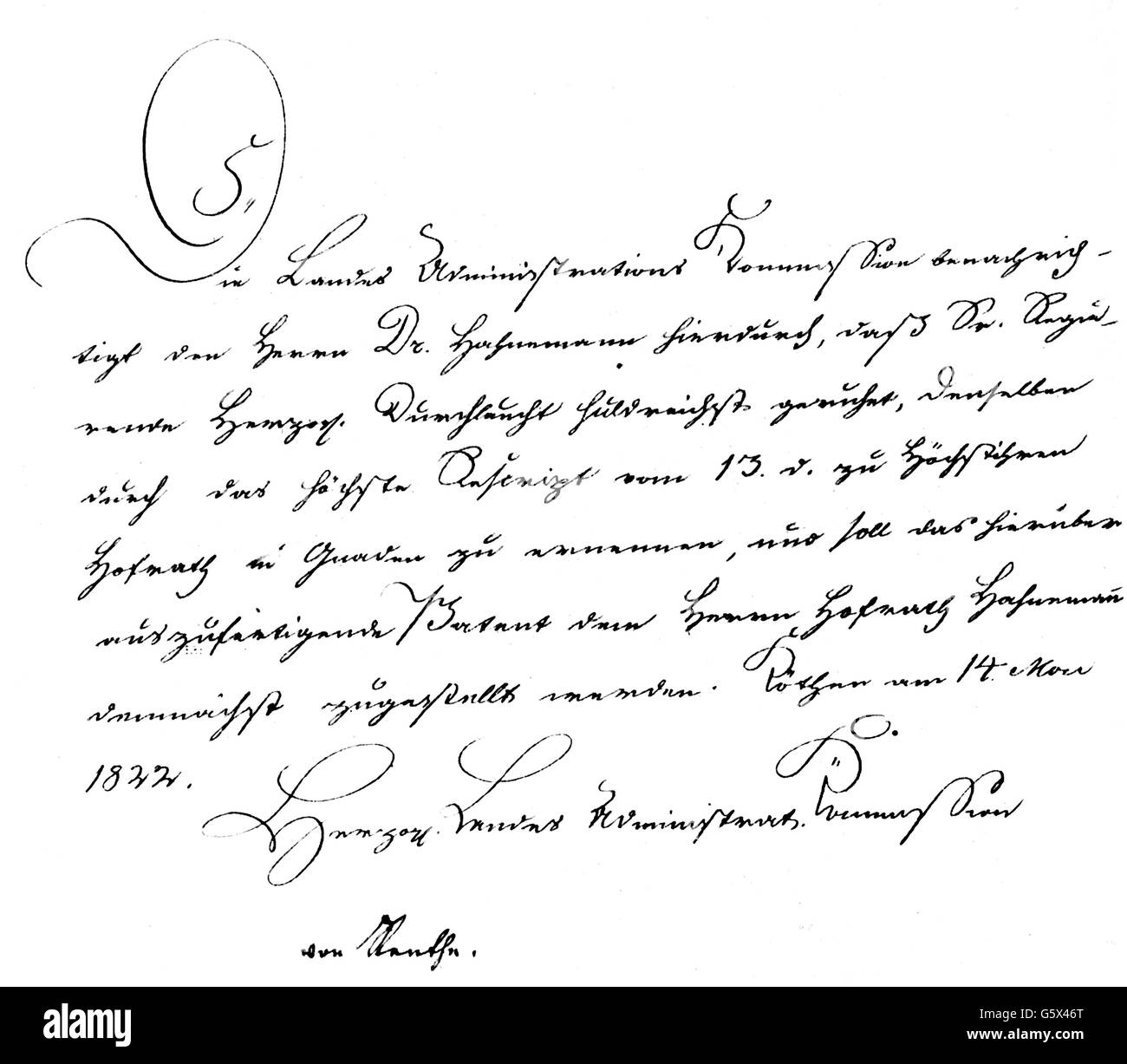 Hahnemann, Christian Friedrich Samuel, 10.4.1755 - 2.7.1843, German physician / medical doctor, letter with his - Stock Image