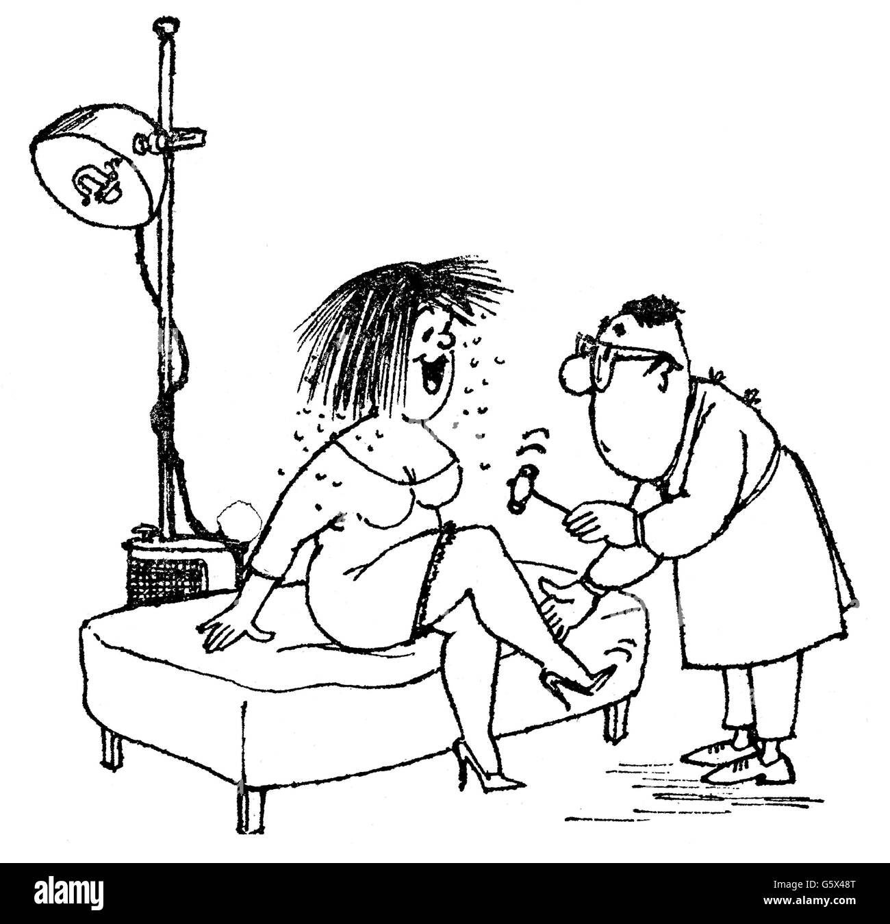 medicine, caricature, 'Doctor, is that a new cure for dandruffs?', drawing by Arthur Epperlein (1919 - 1995), - Stock Image