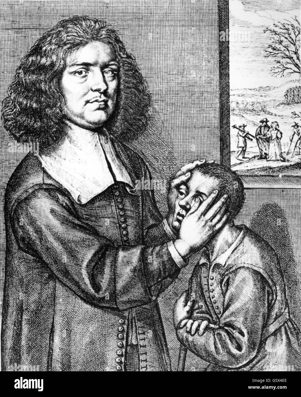 Greatraks, Valentine, 1629 - 1683, Irish witch doctor, half length, magnetizing a patient, copper engraving, second - Stock Image