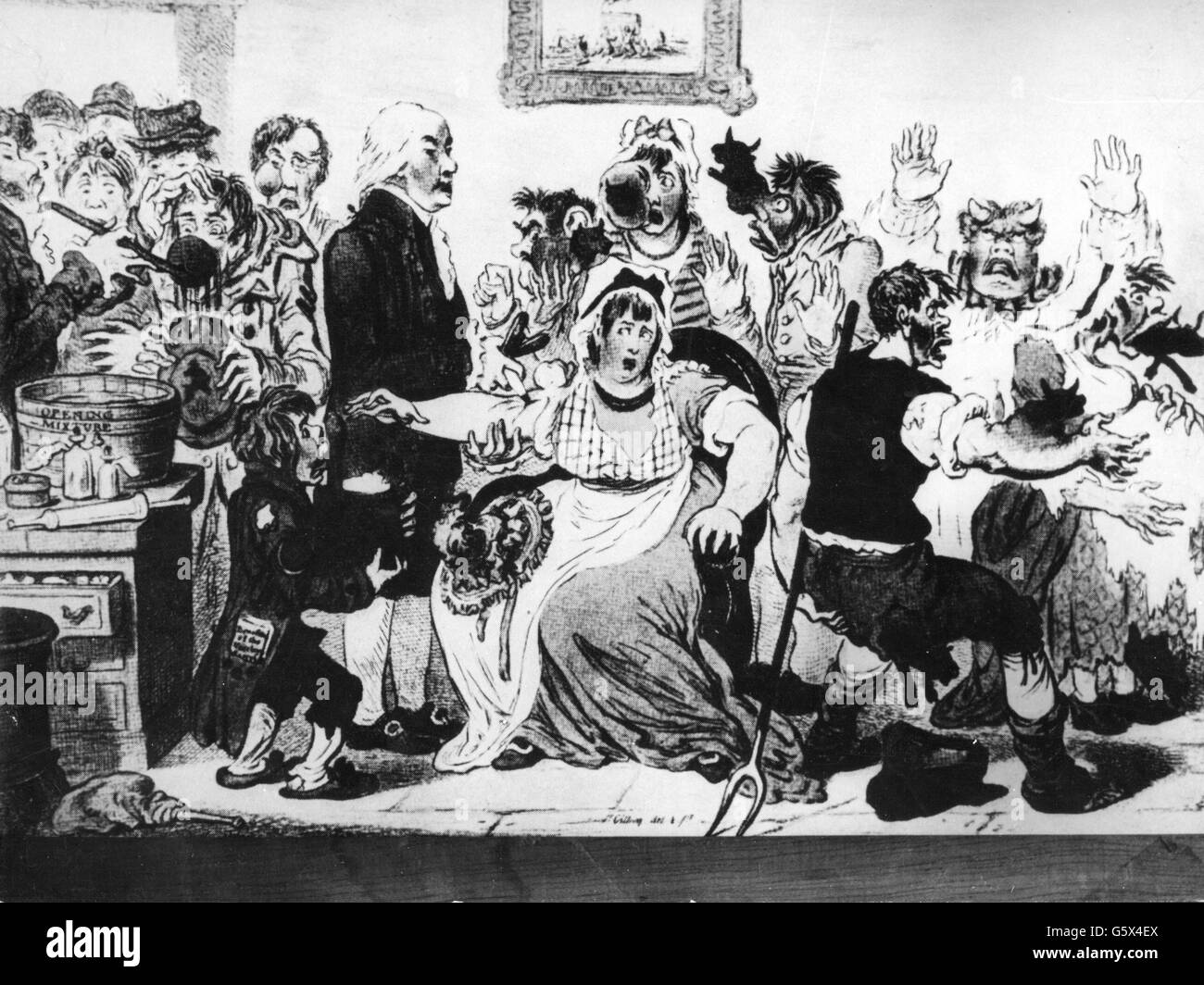 Jenner, Edward, 17.5.1759 - 26.1.1823, English medic / physician, half length, executing smallpox vaccination developed - Stock Image