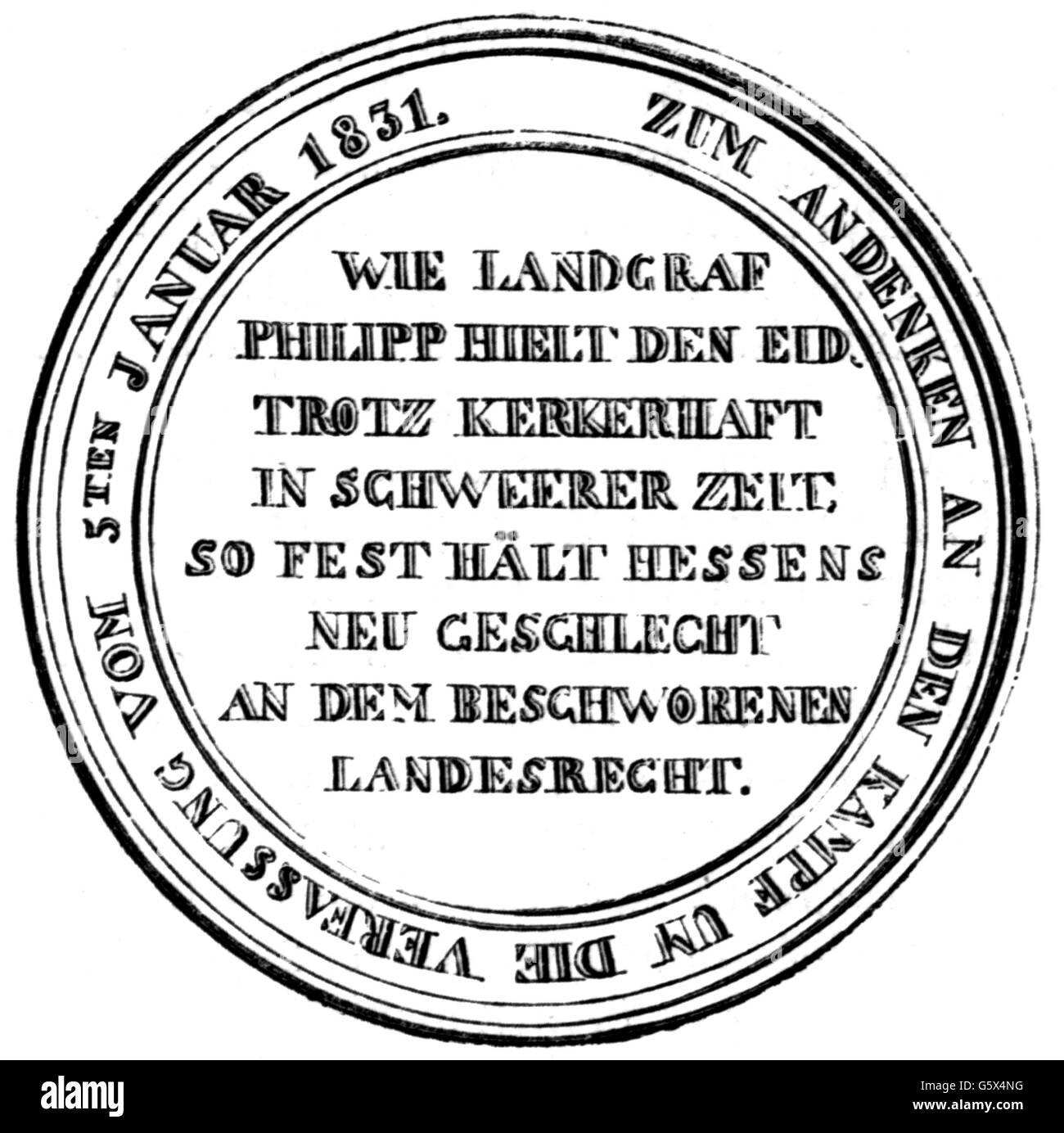 politics, constitution, Germany, electorate Hesse, commemorative coin to the memory to the constitution from 8.1.1831, - Stock Image