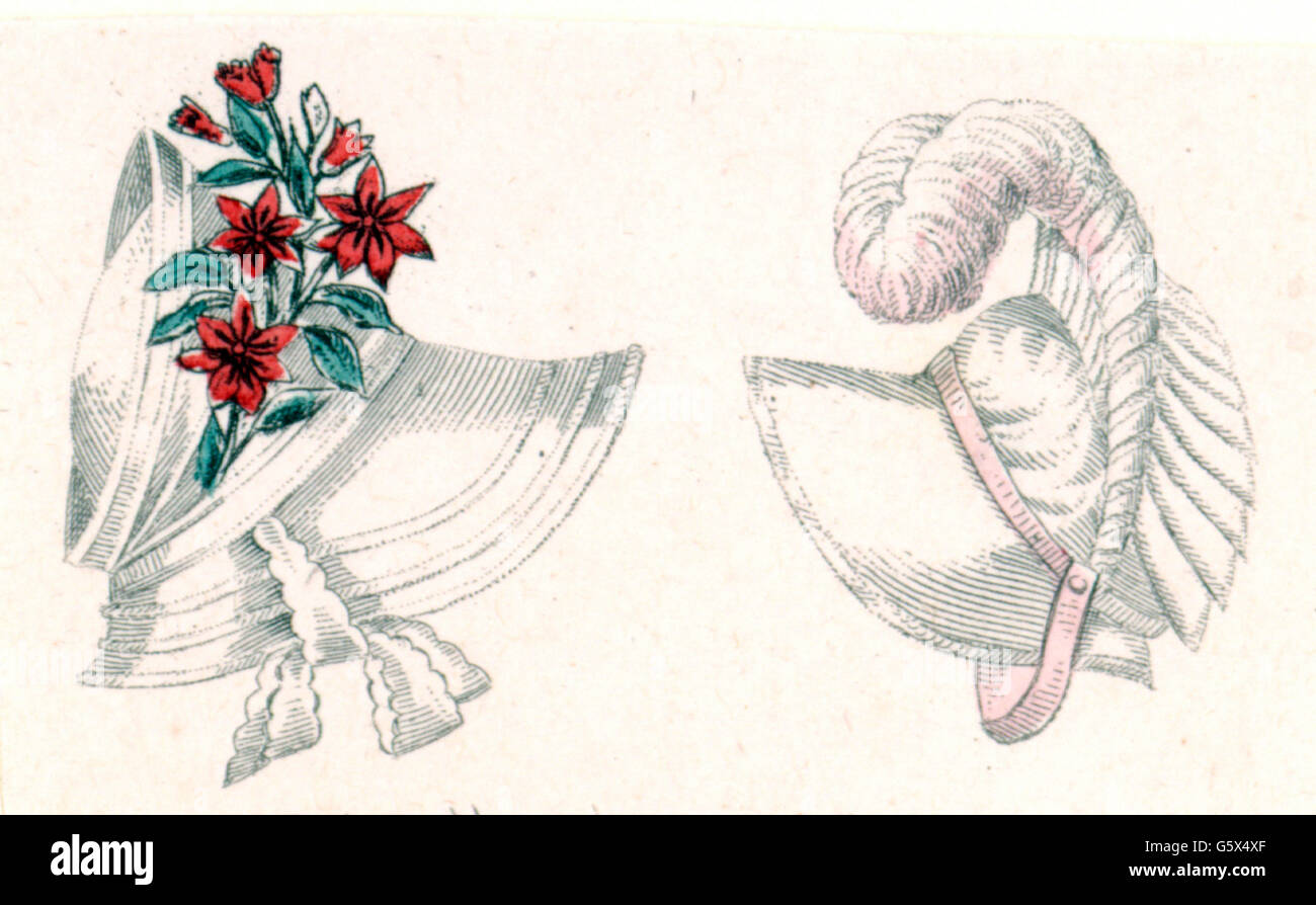 fashion, 19th century, ladies' hats, Paris, May 1808, Additional-Rights-Clearences-NA - Stock Image