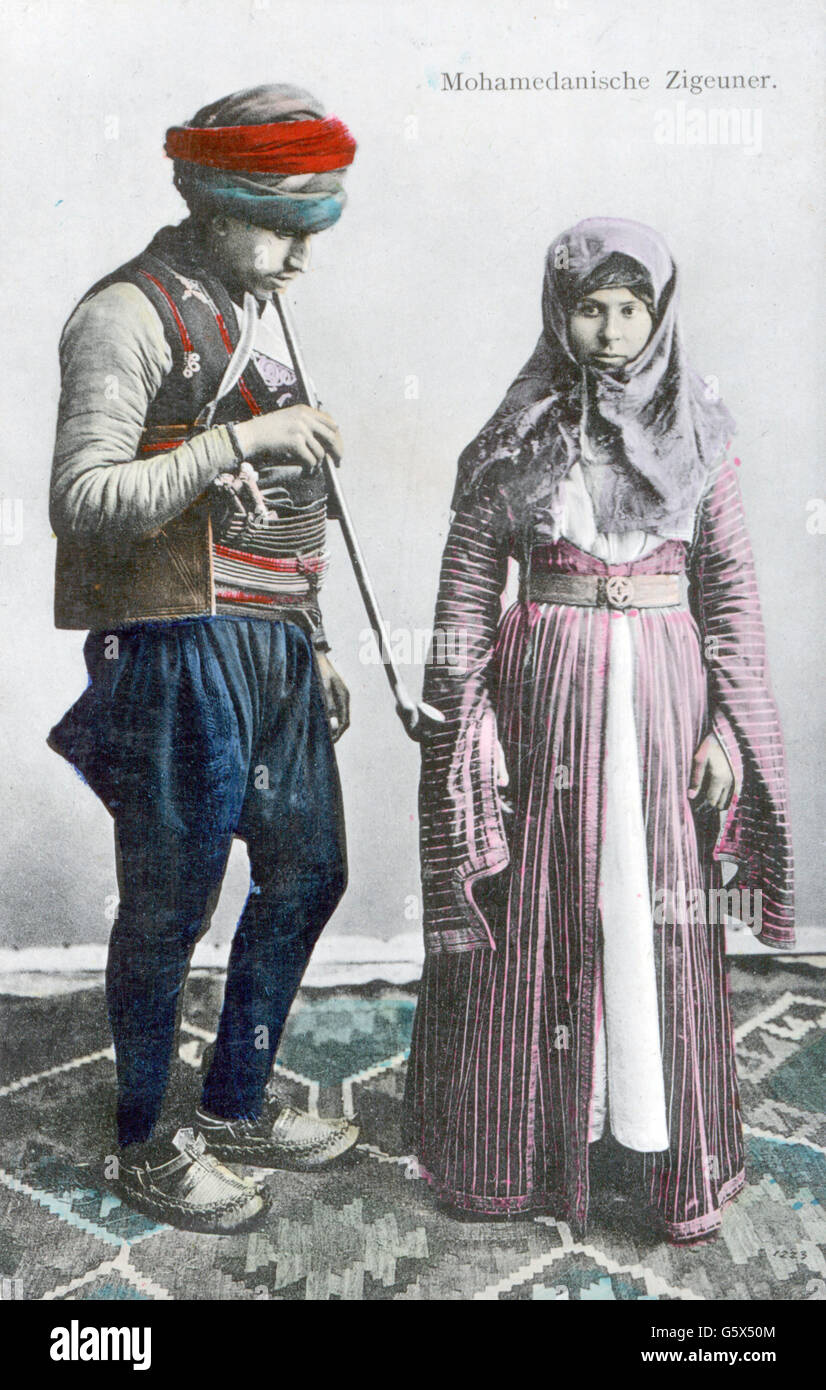 people, ethnology, couple / couples, Muslim gipsies, coloured picture postcard, Pacher & Kisic, Mostar, circa - Stock Image