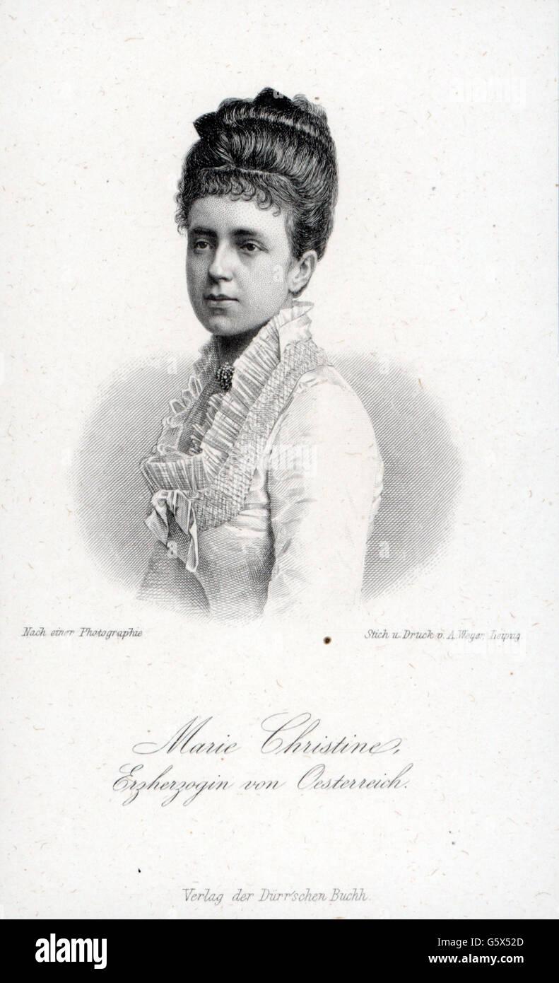 Maria Christina, 21.7.1858 - 6.2.1929, Queen of Spain 29.11.1879 - 25.11.1885, Regent 25.11.1885 - 17.5.1902, portrait, - Stock Image
