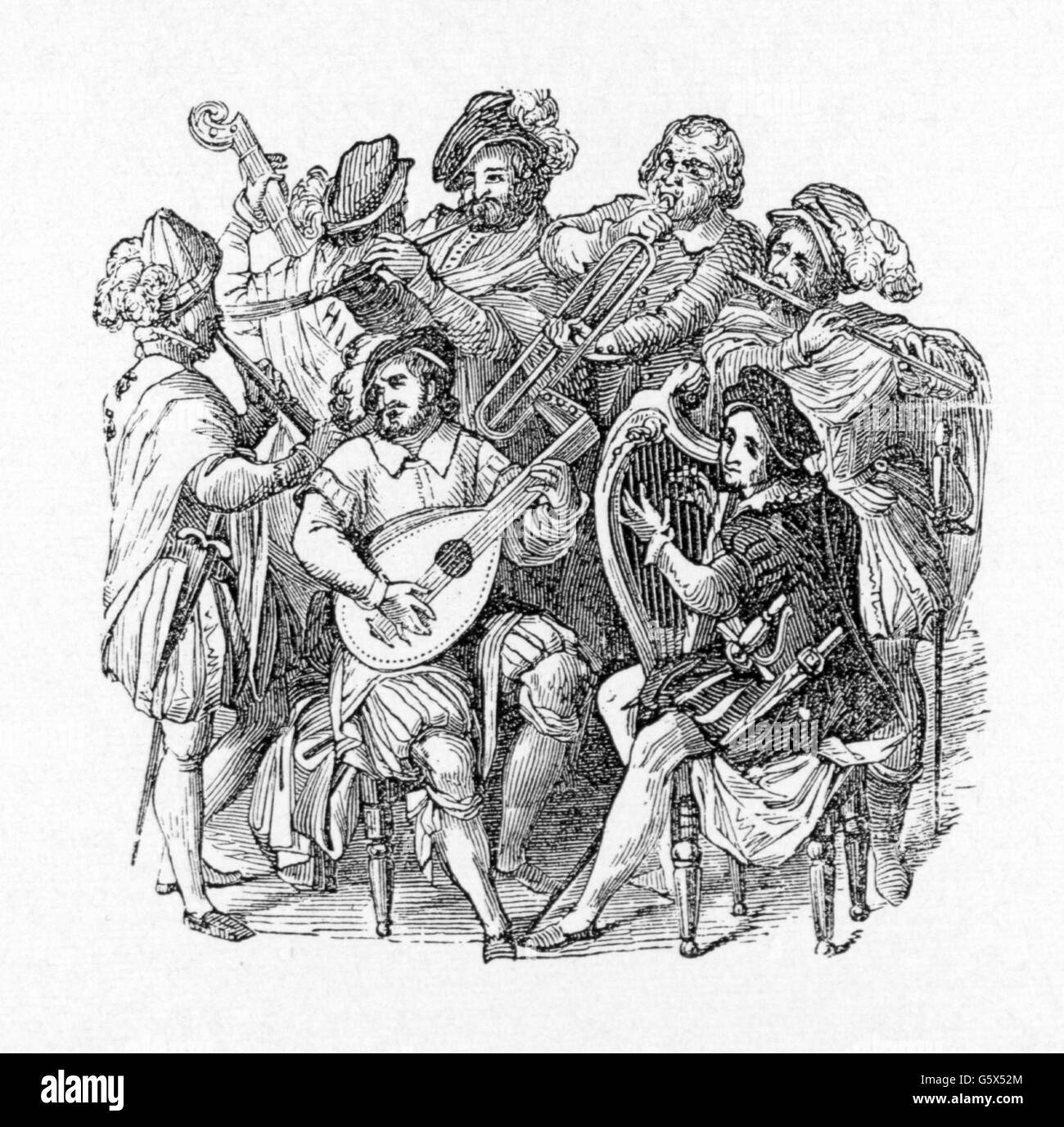 music, music group, English orchestra in the second half of 16th century, wood engraving, mid 19th century, musician, - Stock Image