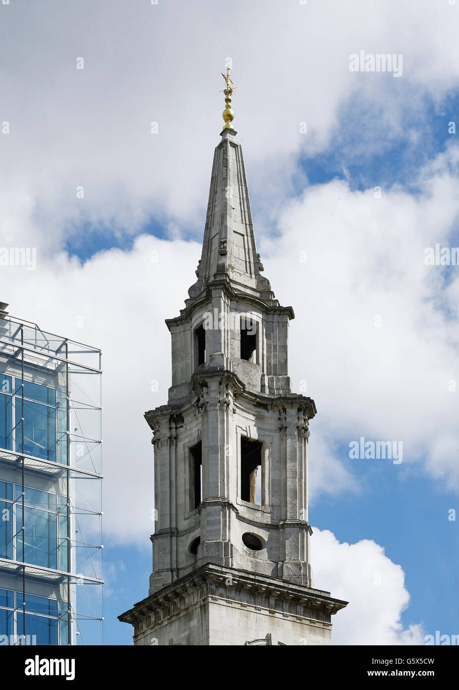 St Vedast Alias Foster, church in the City of London; Baroque spire, going from concave to convex and back to concave - Stock Image