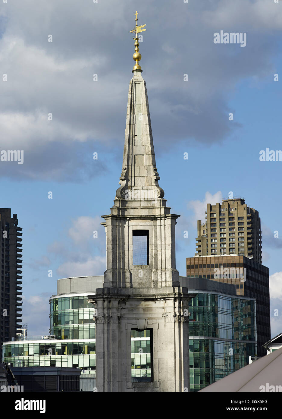 St Vedast Alias Foster, church in the City of London; Baroque spire, going from concave to convex and back to concave. - Stock Image