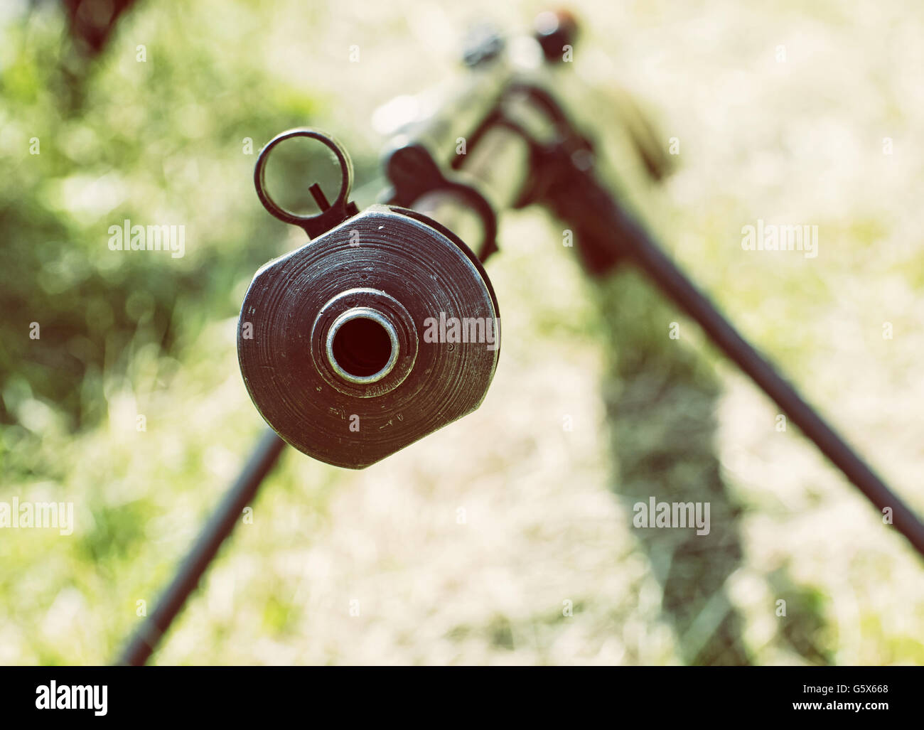 Close up photo of heavy sniper rifle from World War II. Gun scene. Gun barrel. Armed conflict. Military theme. Portable - Stock Image
