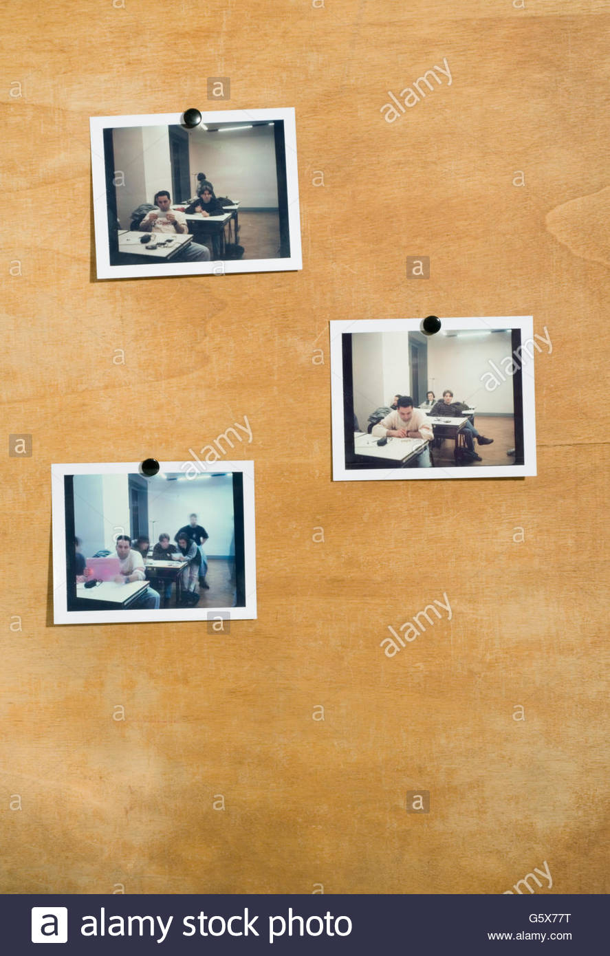 pinned polaroids of people at school - Stock Image
