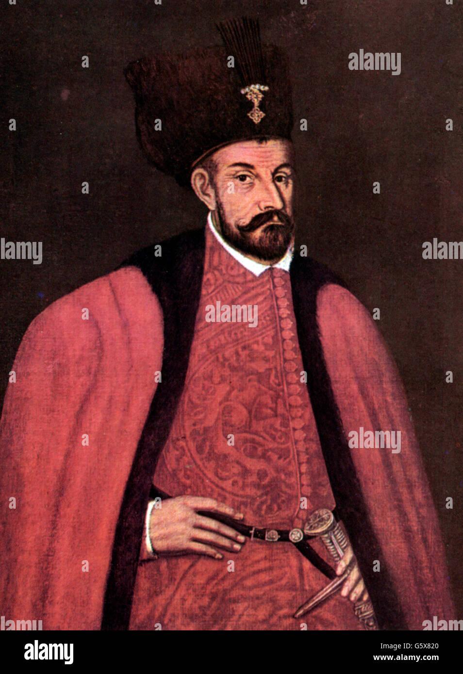 Stephen Bathory, 27.9.1533 - 12.12.1586, King of Poland 14.12.1575 - 12.12.1586, portrait, art postcard after painting, - Stock Image
