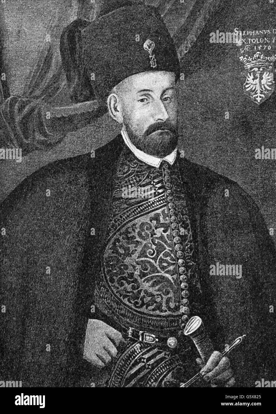 Stephen Bathory, 27.9.1533 - 12.12.1586, King of Poland 14.12.1575 - 12.12.1586, half length, wood engraving, 19th - Stock Image