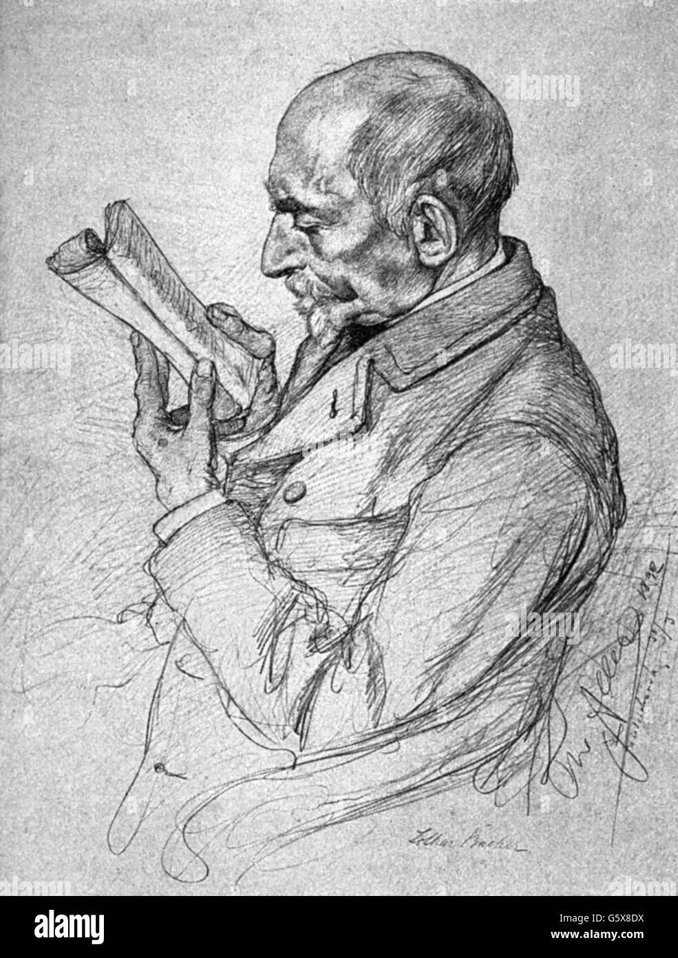 Bucher, Lothar, 25.10.1817 - 12.10.1892, German civil servant, politician and journalist, half length, drawing by Stock Photo