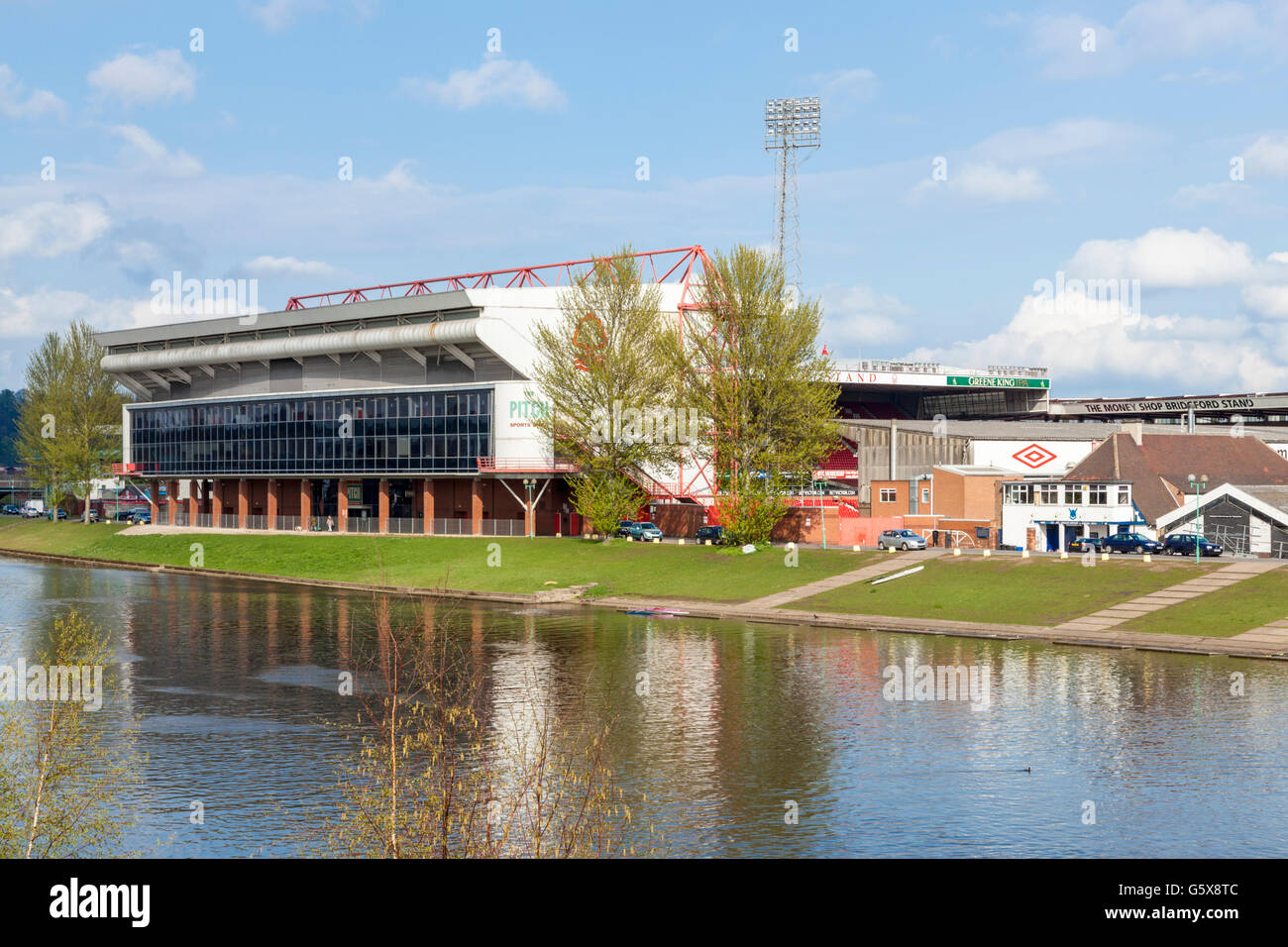 The City Ground, Nottingham Forest Football Club seen from across the River Trent, Nottingham, England, UK - Stock Image
