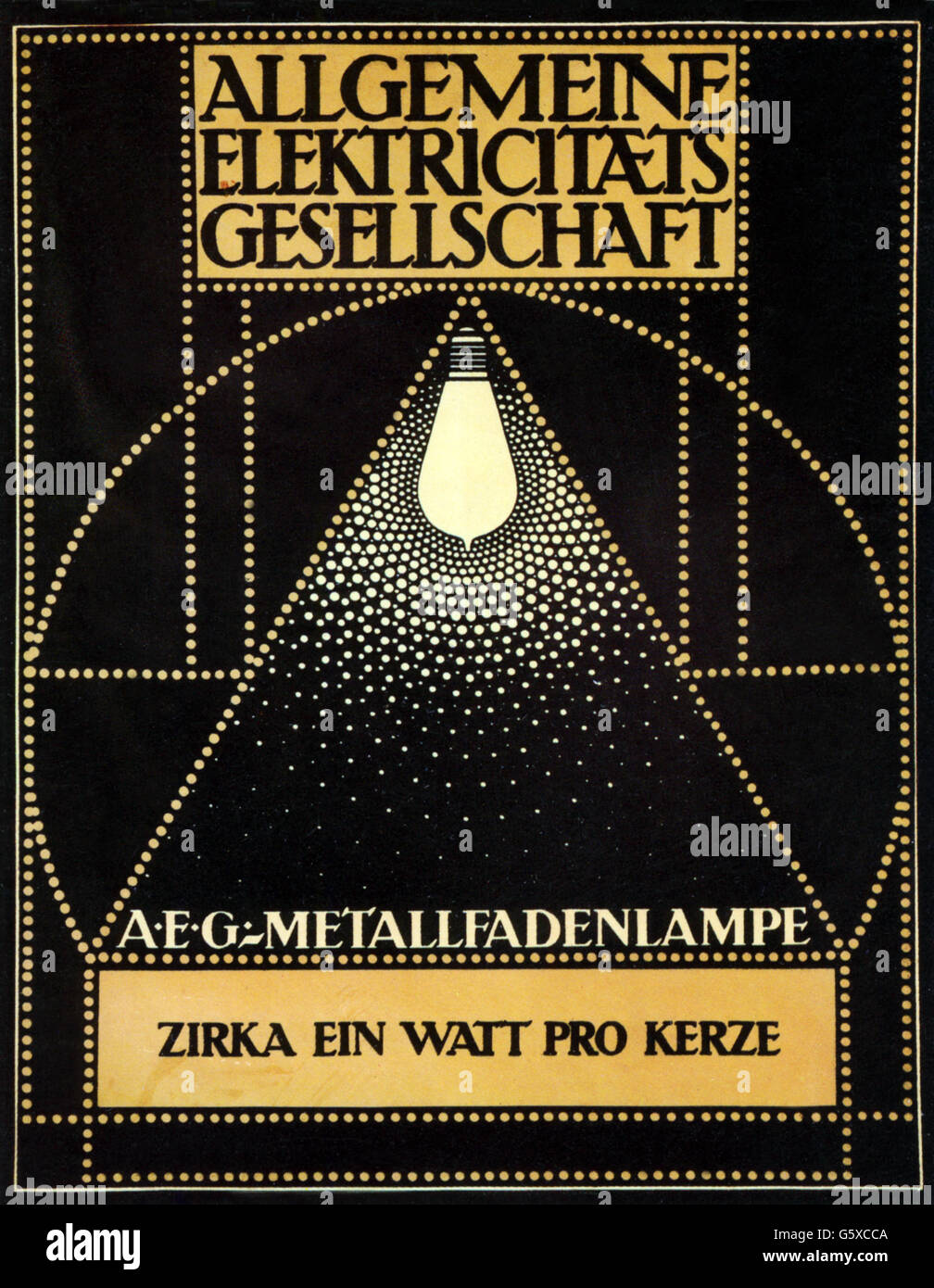 energy, electricity, advertsing, for the AEG metallic filament lightbulb, design: Peter Behrens (1868 - 1940), lithograph, - Stock Image