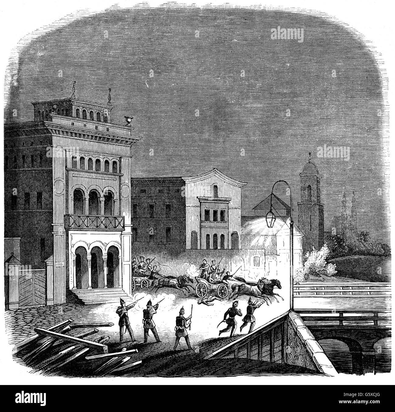 Greater Poland uprising 1846, attack on Wallscheid Bridge, Poznan, February 1846, Poland, Kingdom of Prussia, province - Stock Image