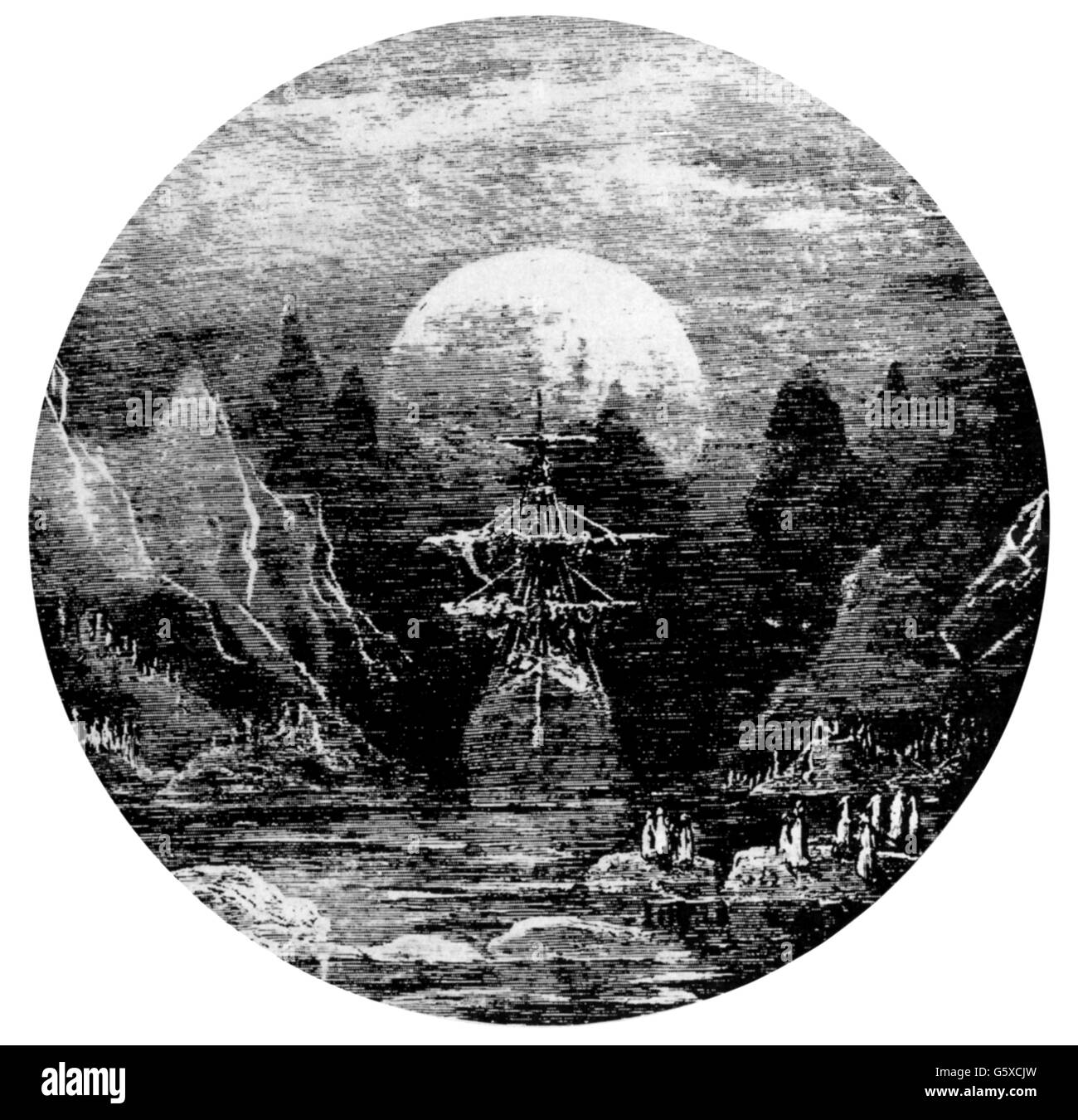 science, polar research, ship in a polar landscape during moonlight, wood engraving, late 19th century, transport, - Stock Image