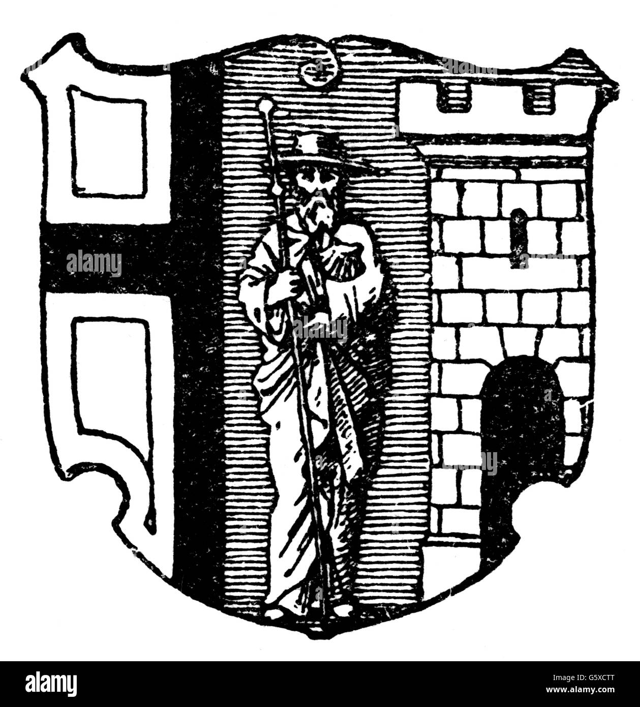 heraldry, coat of arms, Poland, city arms, Olsztyn, wood engraving, 1892, Additional-Rights-Clearences-NA - Stock Image