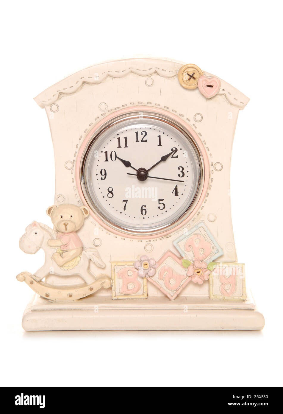 Baby clock for nursery studio cutout - Stock Image
