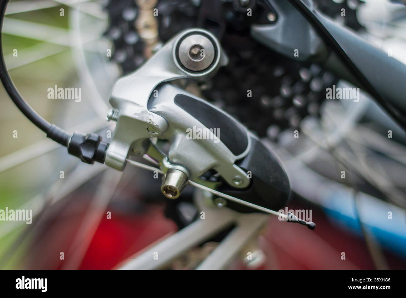 Closeup of a bicycle gear shifting mechanism Stock Photo