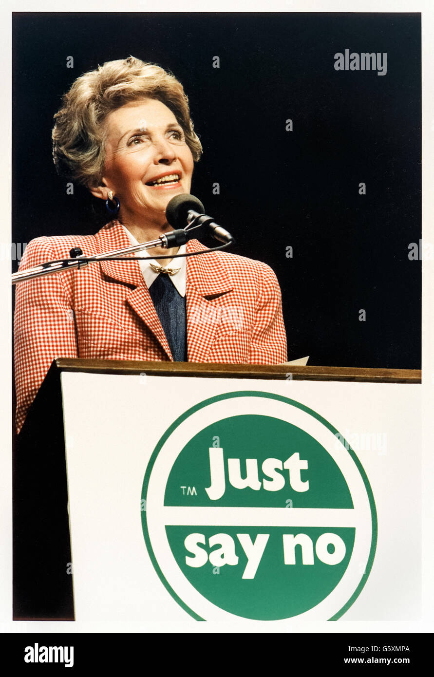 """Just Say No"" anti-drug campaign, the slogan was created and championed by First Lady Nancy Reagan shown here giving - Stock Image"