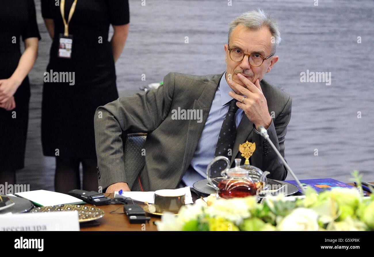 AFP international news editor Boris Bachorz during a meeting with Russian President Vladimir Putin and international - Stock Image
