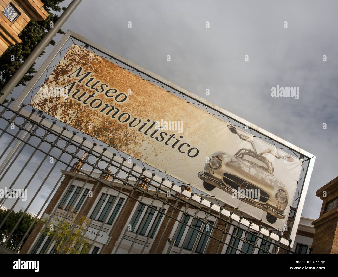 MALAGA, SPAIN:  Sign at the entrance of the Motor Museum - Stock Image