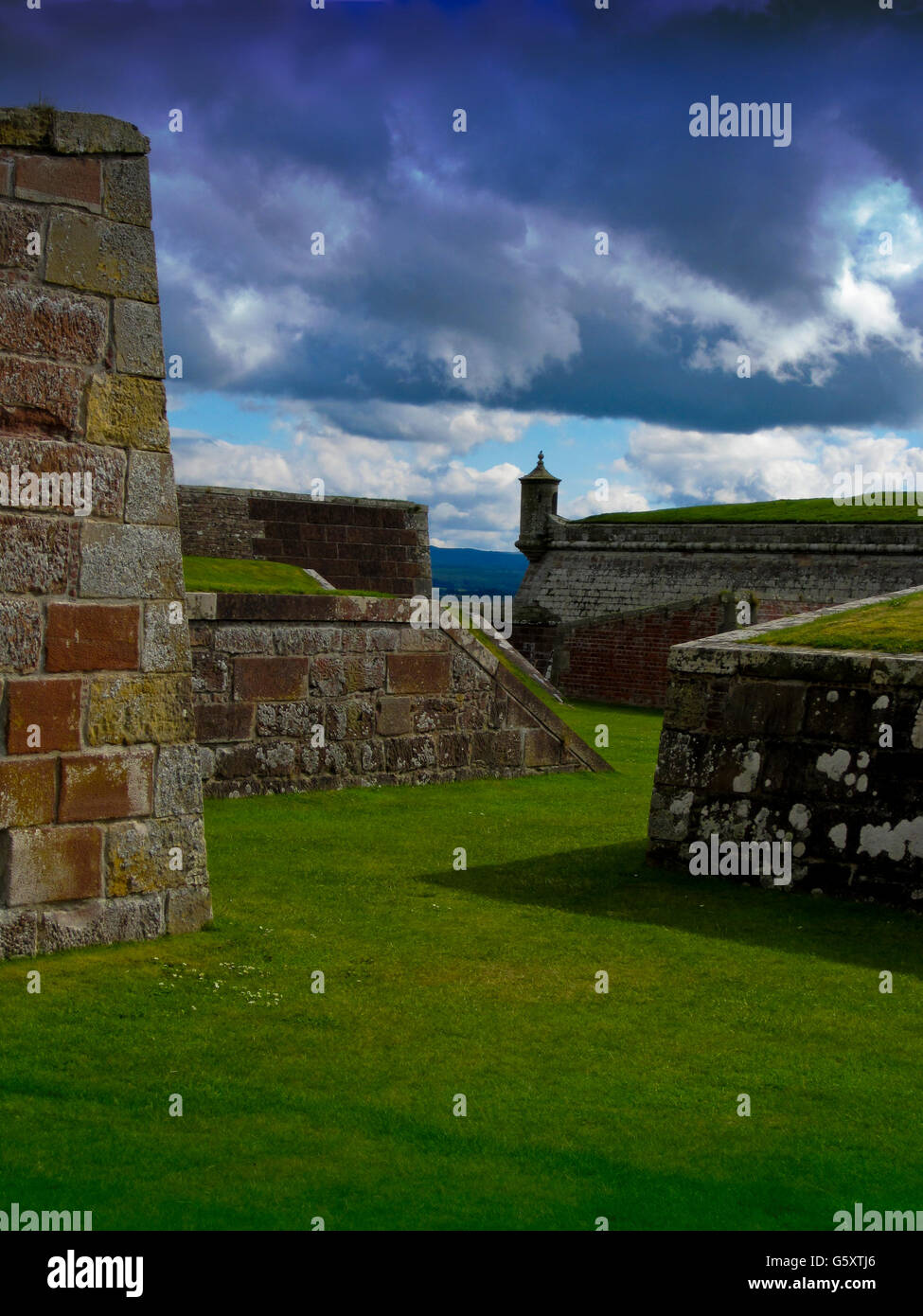 Fortifications and lookout turret, Fort George, Inverness, Scotland - Stock Image